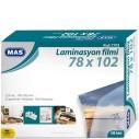 MAS - MAS 7703 LAMİNASYON FİLMİ 125 MİKRON 78x102 100 ADET